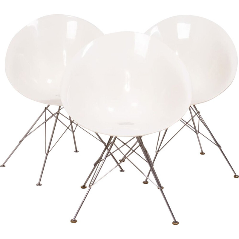 Vintage chair with chrome steel base by Philippe Starck for Kartell