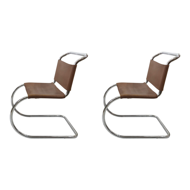 Pair Of Ludwig Mies Van Der Rohe MR10 Leather And Chrome Dining Chairs
