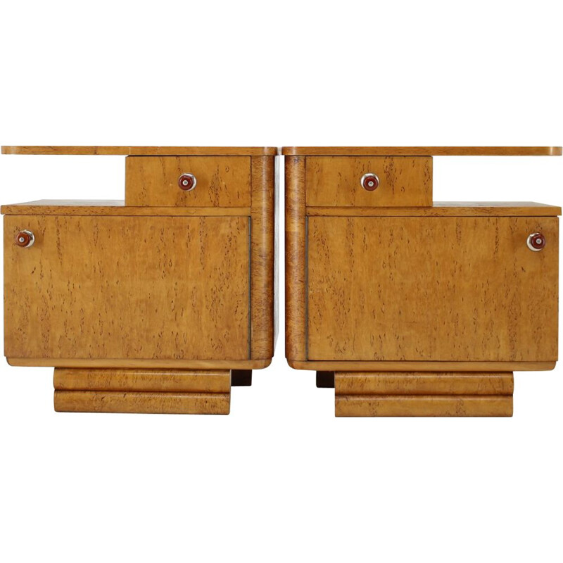 Pair of bedside tables vintage Czechoslovakia 1940s
