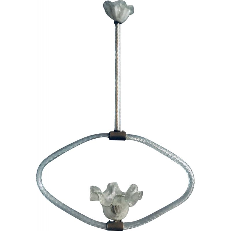Vintage Murano glass Art Deco hanging lamp by Ercole Barovier 1940s