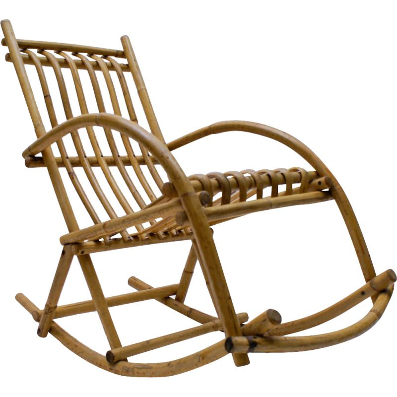 Vintage rattan and bamboo rocking chair 1970s
