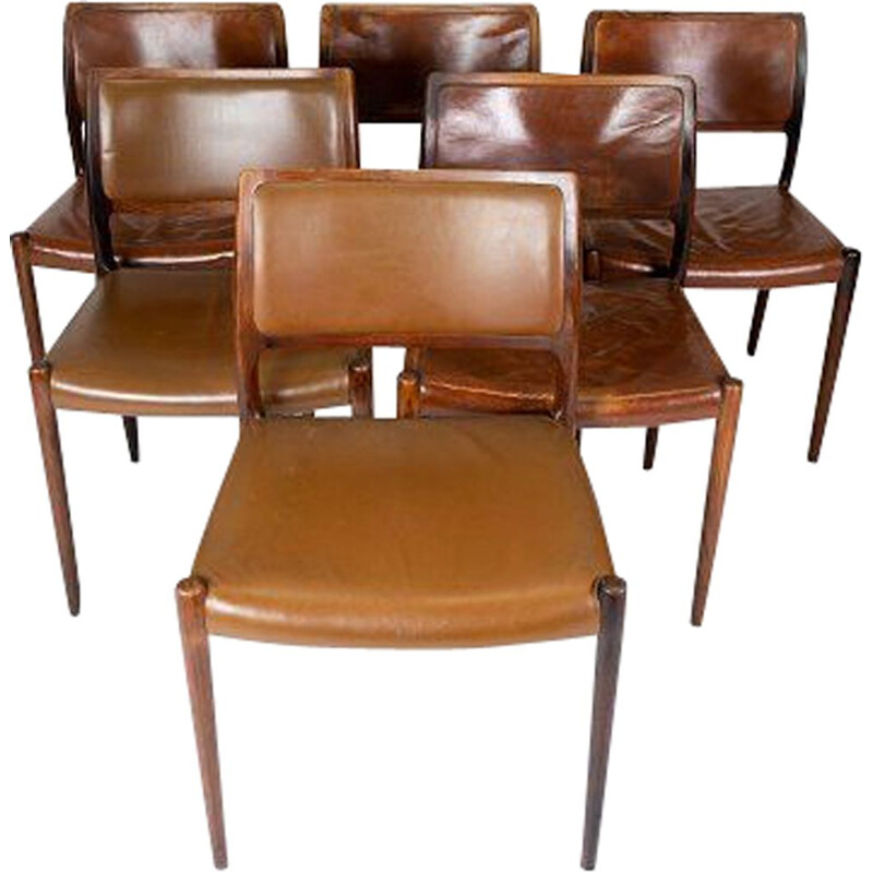 Set of 6 vintage chairs model 80 in rosewood and cognac leather by N.O. Møller 1980s