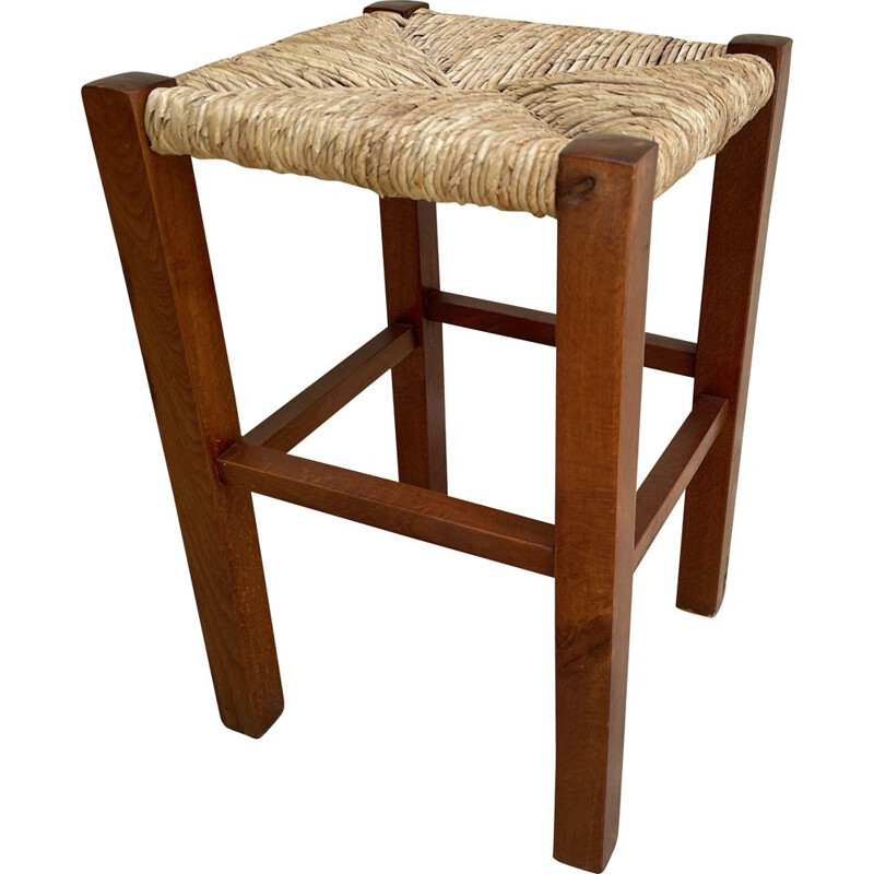 Vintage geometric stool in straw and solid teak