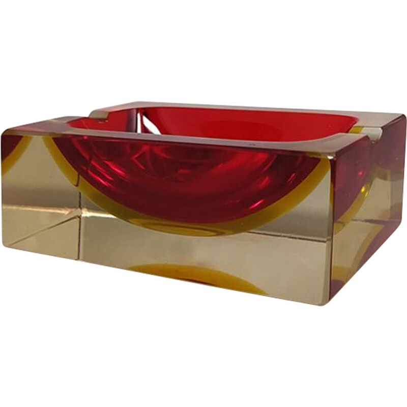 Vintage red and yellow rectangular ashtray by Flavio Poli for Seguso Italy 1970s