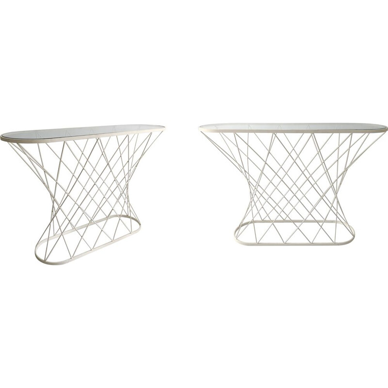 Vintage white twisted console table by Isamu Noguchi Style USA 1980s