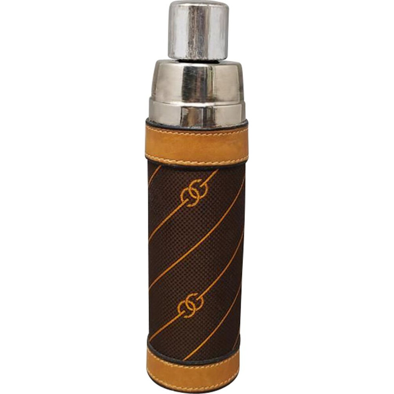 Vintage GUCCI vacuum flask in brown canvas with monogram Italy 1970s
