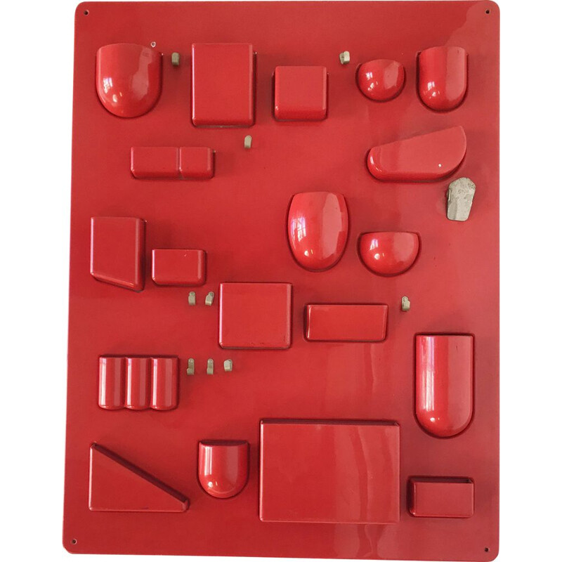 Vintage red Utensilo I Red, wall unit by Dorothee Becker 1969