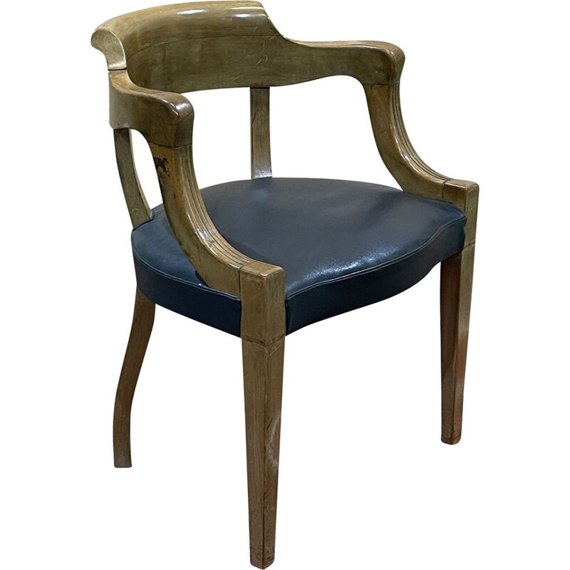 Vintage beechwood office chair with skai seat redone 1930s