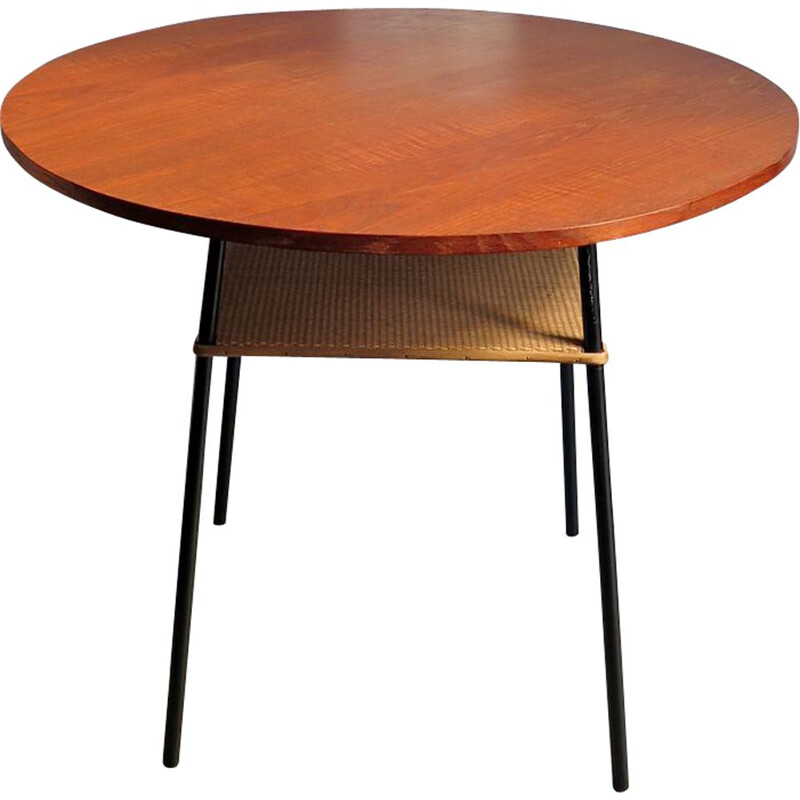 Vintage teak and rattan table with metal base 1950s