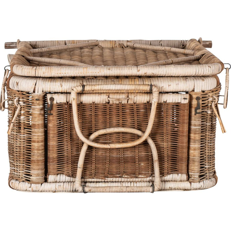 Vintage wicker picnic basket and seat 1950s