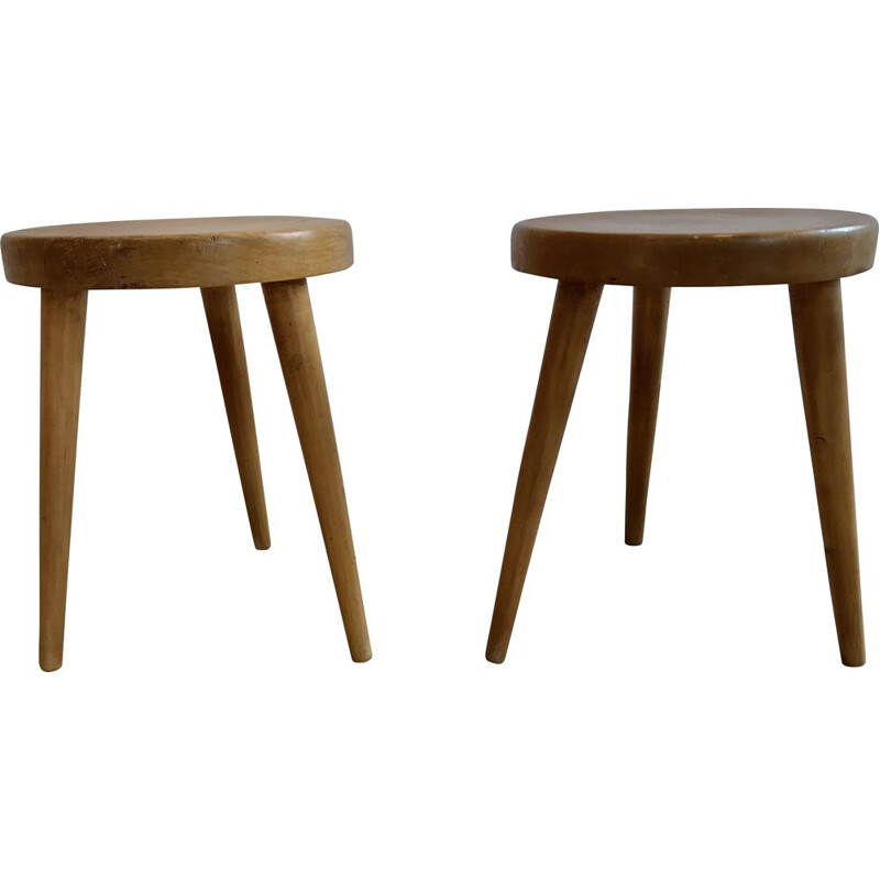 Set of 3 vintage stools circa by Charlotte Perriand 1950s