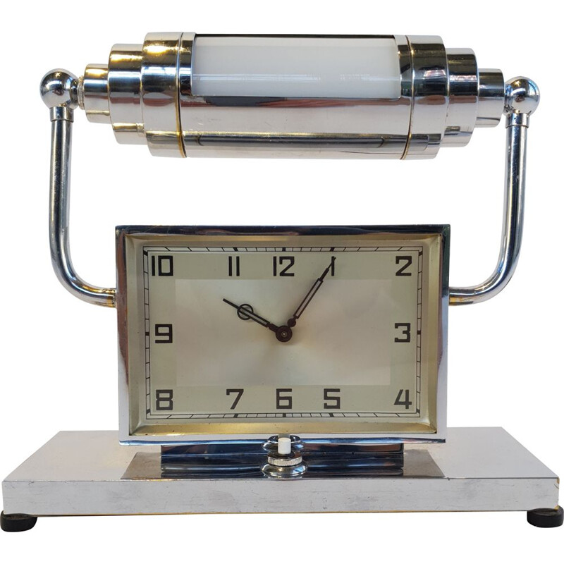 Vintage Art Deco table lamp with clock 1930s