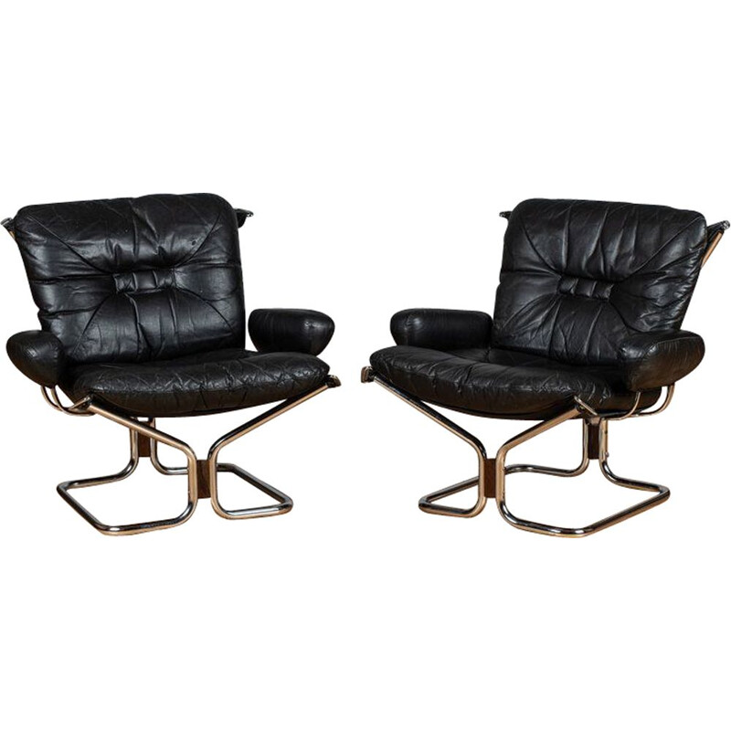 Vintage chrome and leather chairs by Ingmar Relling 1960