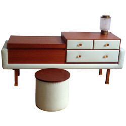 Dressing table with matching pouffe, Roger LANDAULT - 1950s