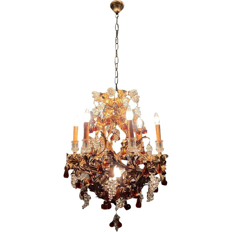 Vintage large chandelier Murano  in the shape of a fruit