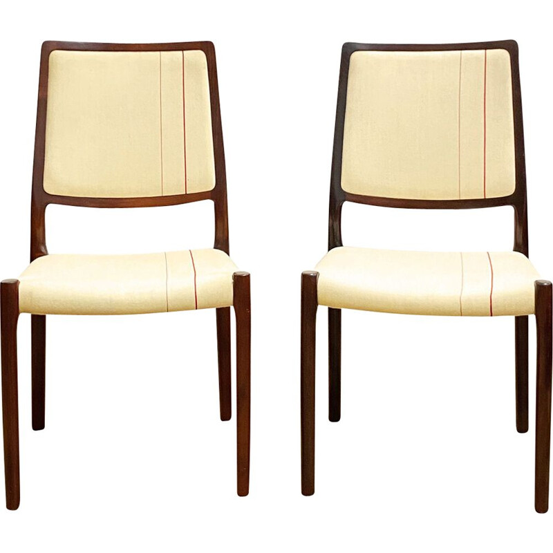 Pair of vintage mahogany chairs by Niels O. Møller for J.L. Moller Denmark 1950s