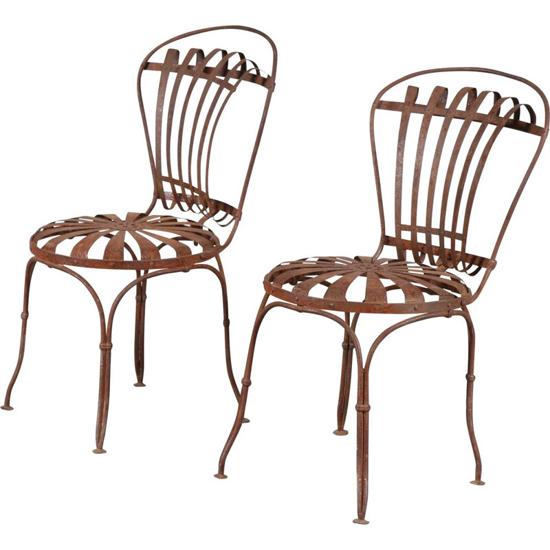 Pair of vintage garden chairs by Francois Carre France 1950s
