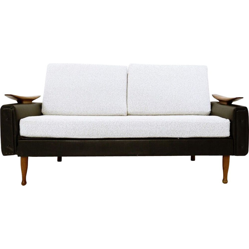 Vintage teak and faux leather sofa bed by Greaves &Thomas UK 1960s
