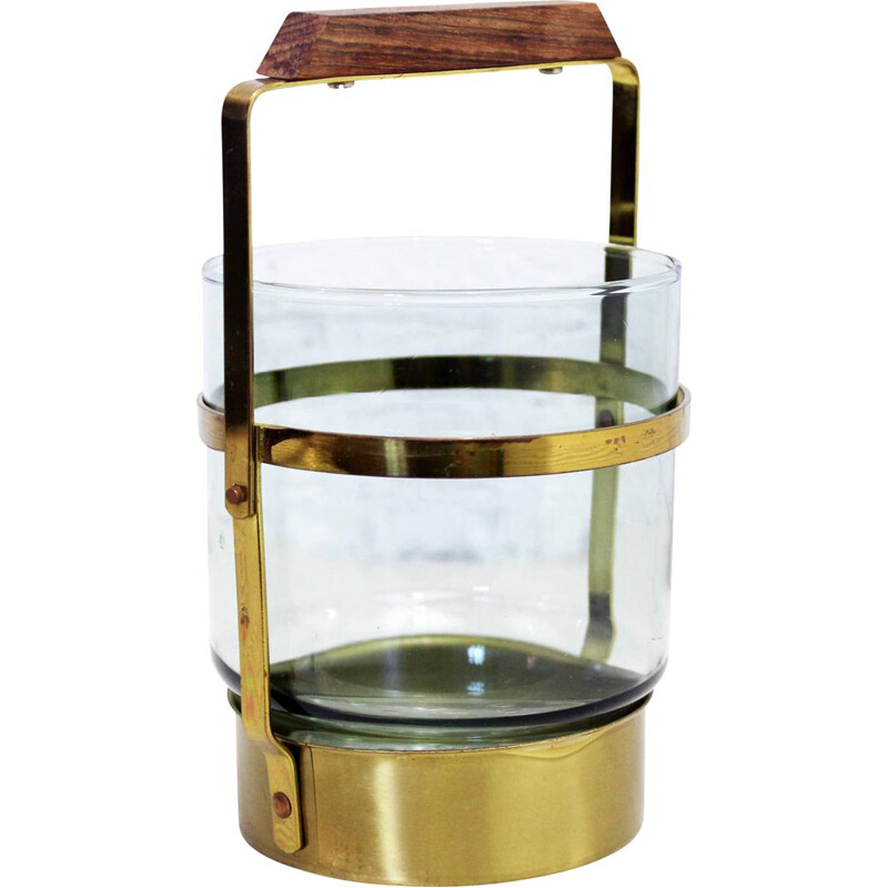 Vintage ice bucket in smoked glass and brass 1960s