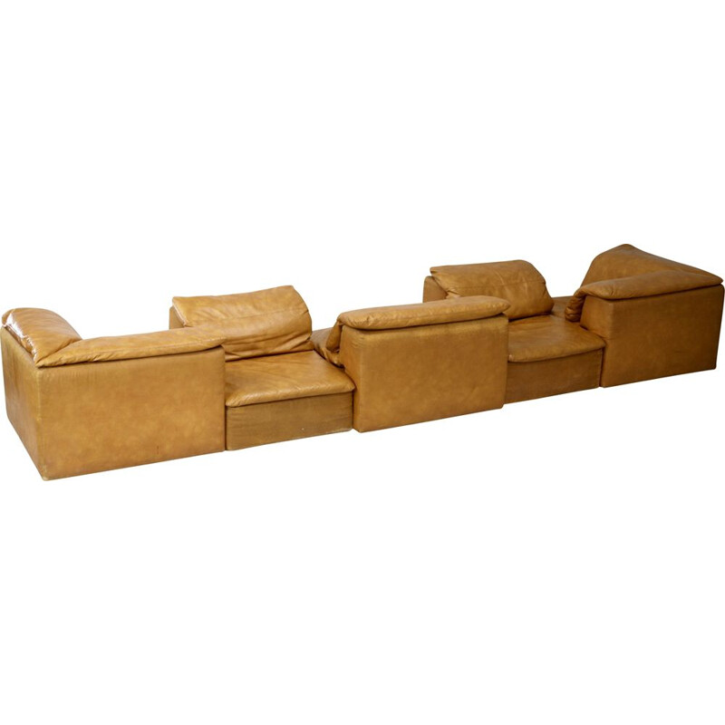 Vintage modular sofa with 5 chairs in foam and leatherette 1970s