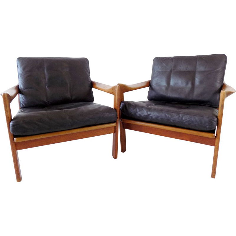 Pair of vintage teak and leather armchairs by N. Eilersen by Illum Wikkelso 1960