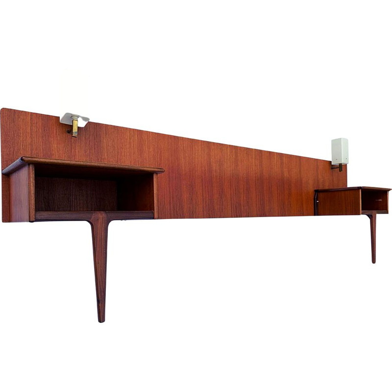 Vintage teak and afromosia headboard with bedside tables and lamps by A. Younger 1960s