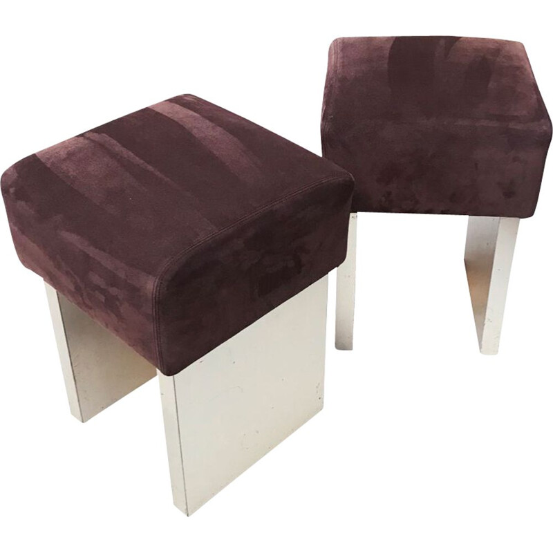 Pair of square vintage seats in chocolate calfskin 1970s