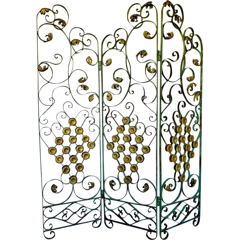 Vintage Art Deco wrought iron screen by Gilbert Poillerat France 1930s