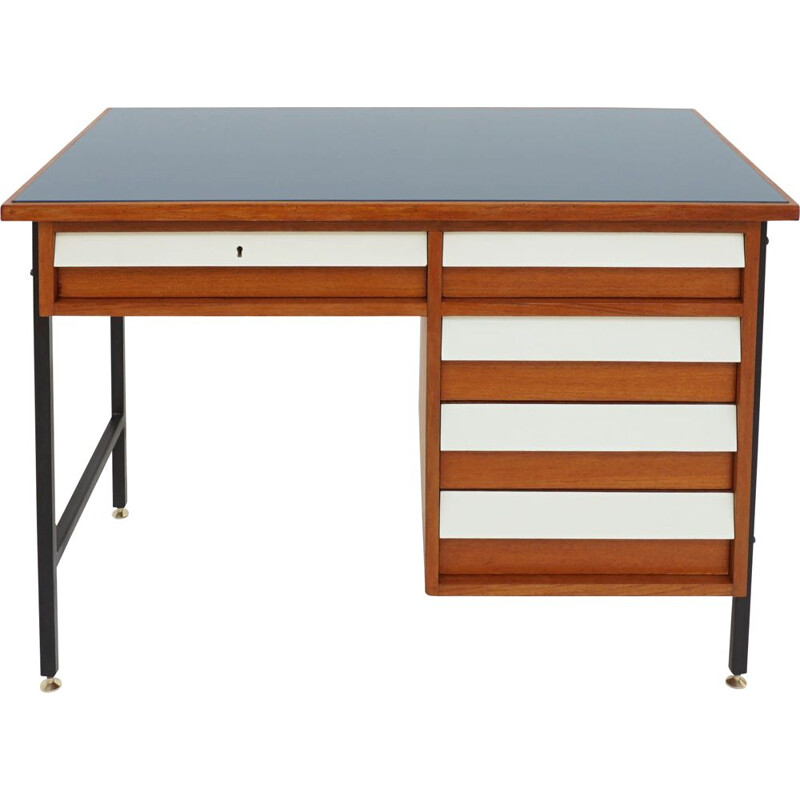 Vintage small desk with blue glass drawers Italy 1950s