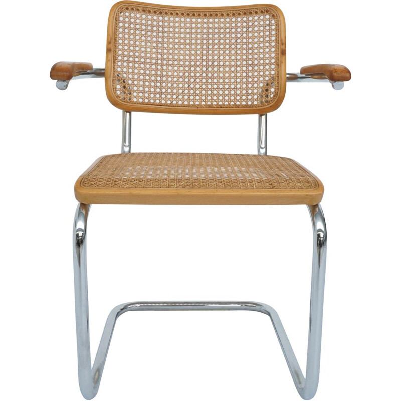 Vintage chair with armrests Cesca from Thonet by Marcel Breuer Germany 1984s