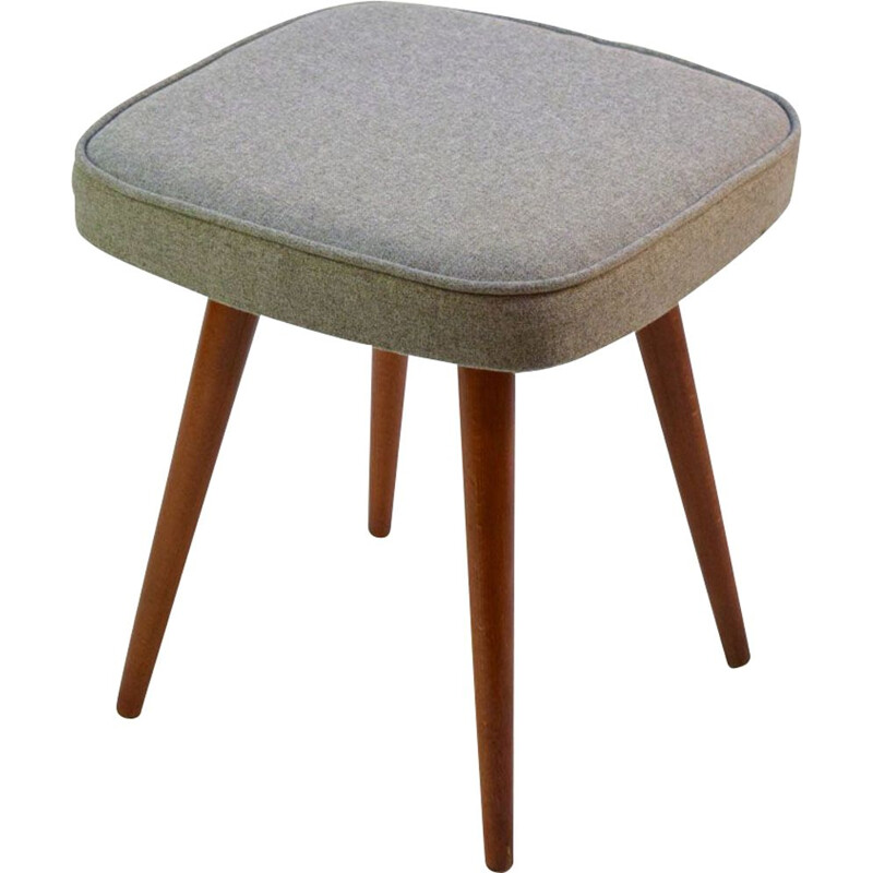 Vintage wood and grey fabric stool 1960