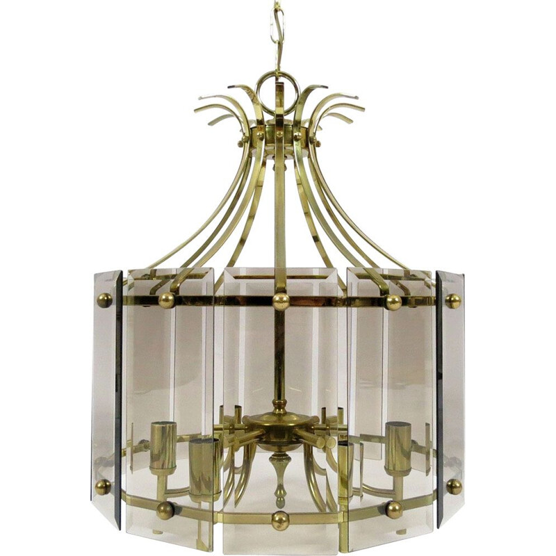 Vintage brass and smoked glass chandelier 1970
