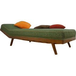 Green daybed in lacquered wood and fabric - 1950s