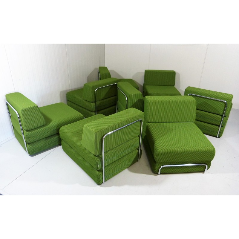 Magnificent Sofa And Bed Elements In Chromed Steel And Lime Green Fabric 1970S Caraccident5 Cool Chair Designs And Ideas Caraccident5Info