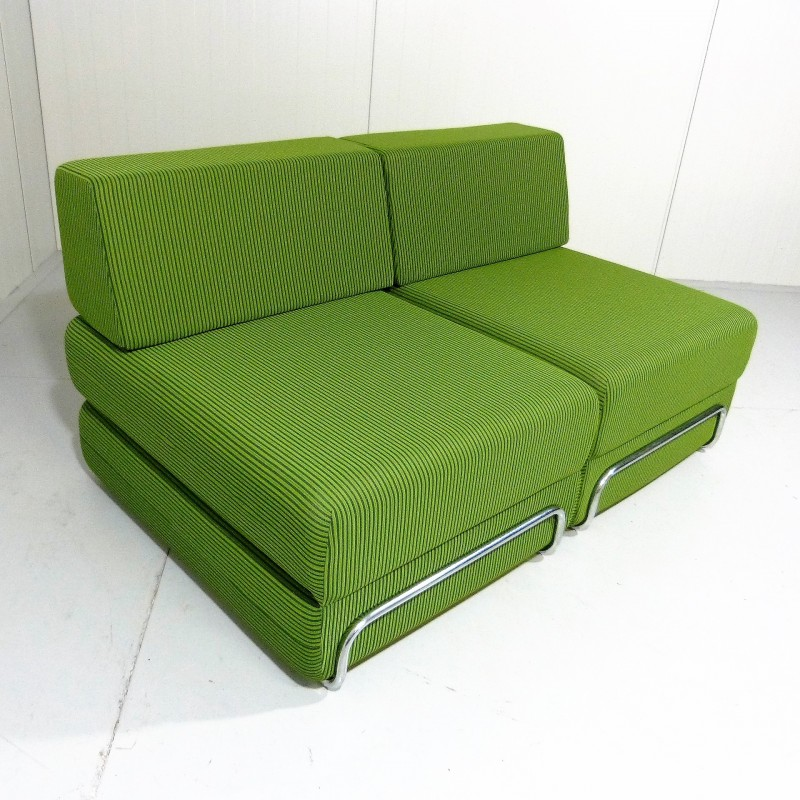 Fantastic Sofa And Bed Elements In Chromed Steel And Lime Green Fabric 1970S Caraccident5 Cool Chair Designs And Ideas Caraccident5Info