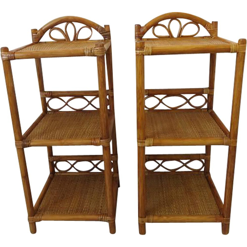 Pair of vintage bedside tables in rattan and bamboo 1980s