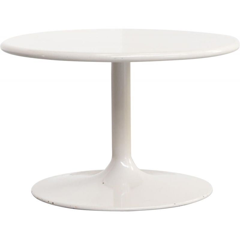 Vintage round side table in wood and metal by Pierrre Paulin for Artifort 1980s