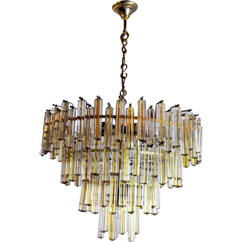 Vintage chandelier Paolo Venini  two-tone 4 levels Italy 1970s