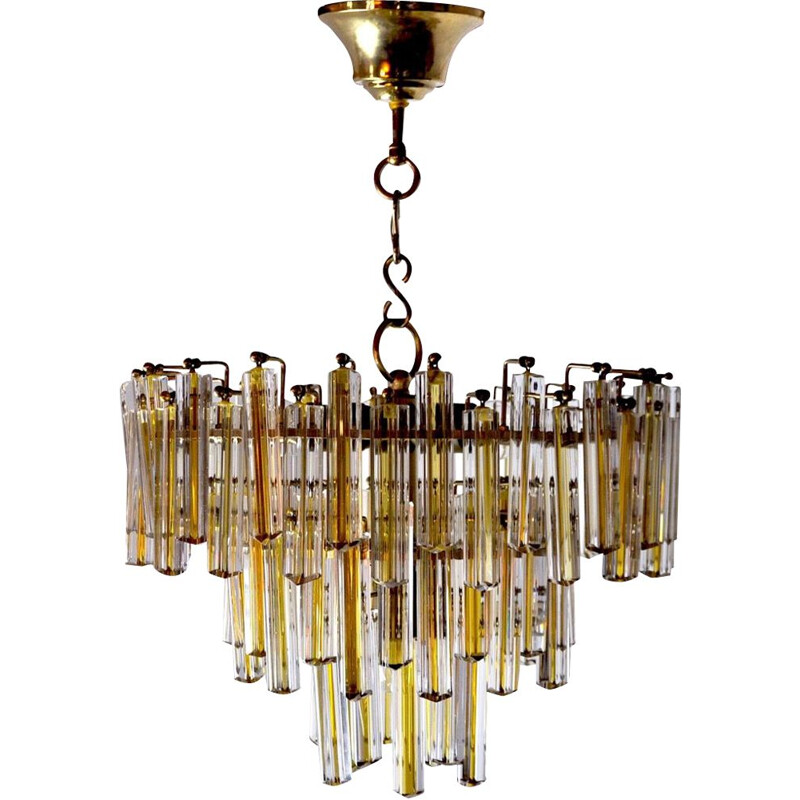 Vintage chandelier Paolo Venini two-tone 3 levels Italy 1970s
