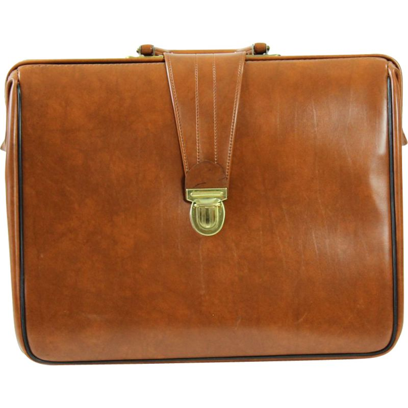 Vintage briefcase in cognac faux leather never used, Czechoslovakia 1960s