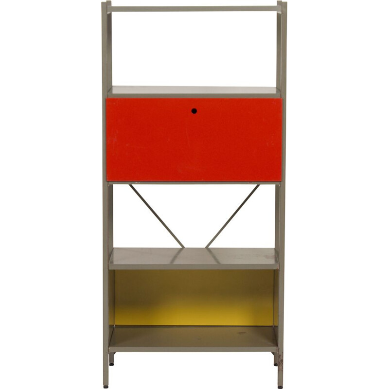 Vintage cabinet model 663 red, black, yellow by Wim Rietveld for Gispen 1954s