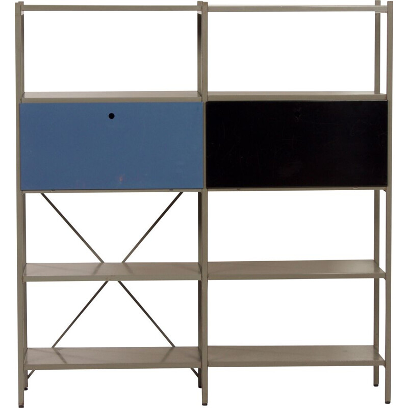 Vintage black and blue wardrobe model 663 by Wim Rietveld for Gispen 1954s