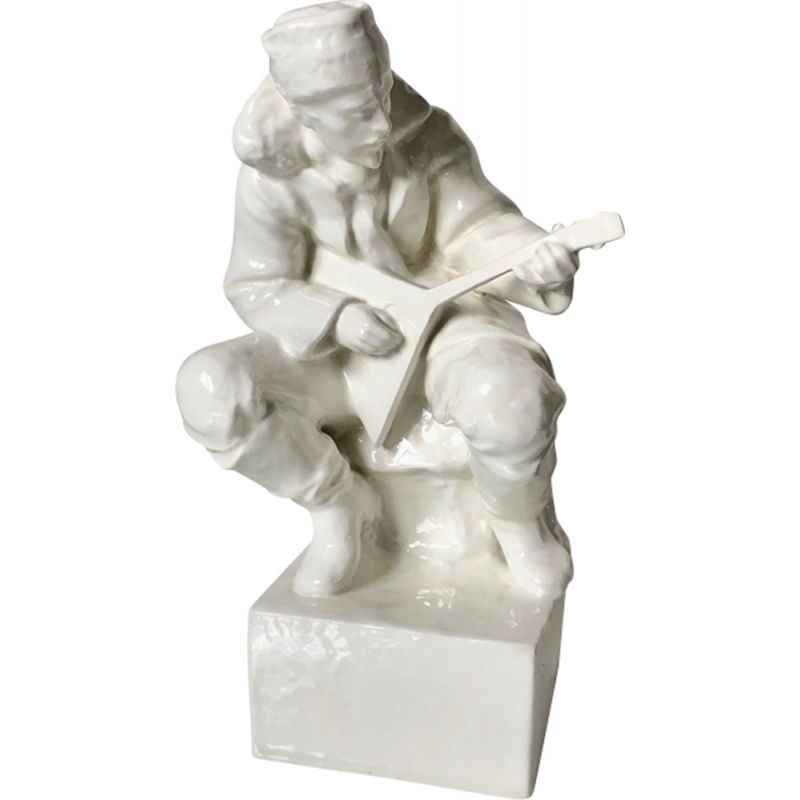 Vintage porcelain man playing Art Deco lute with luteCzechoslovakia 1940s