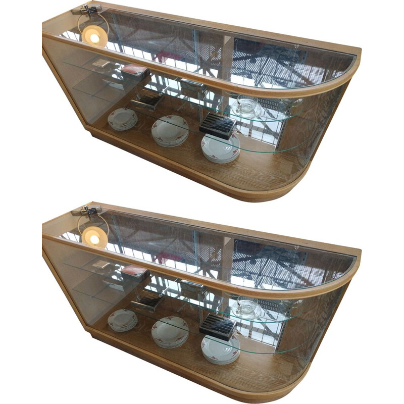 Pair of vintage oak display cabinets with rounded glass Czechoslovakia