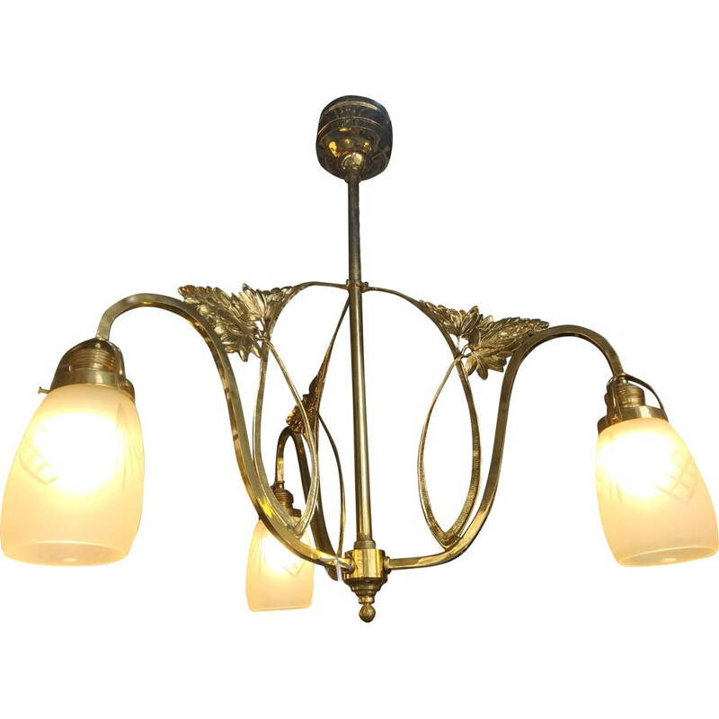 Vintage Art Deco brass and satin glass chandelier with Czech cut-out 1920s