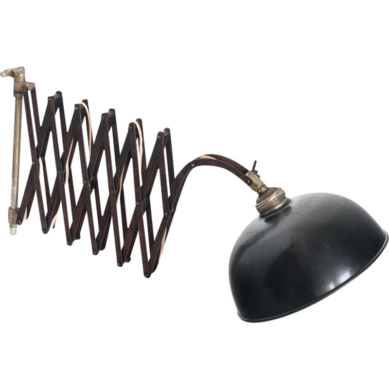 Vintage industrial wall lamp in painted iron France 1940s