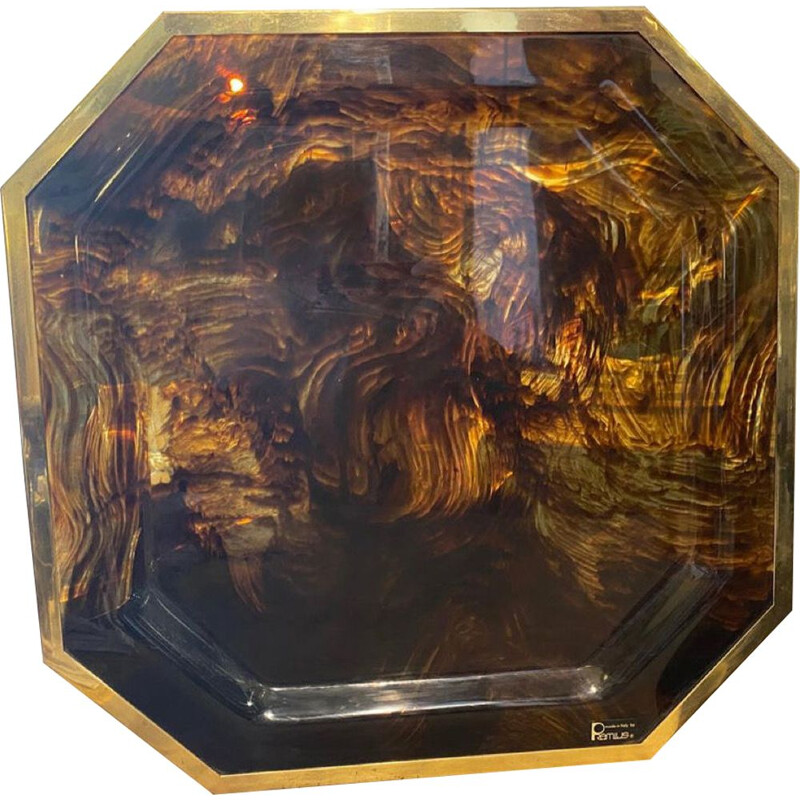 Vintage octagonal tray in brass and fake lucite Italy 1970s