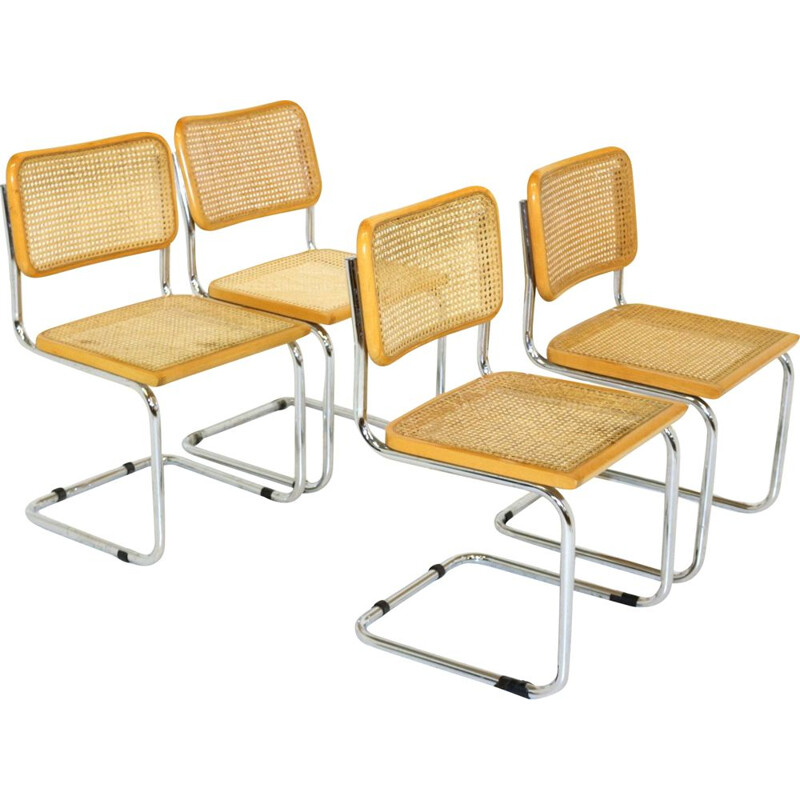Set of 4 vintage S32 chairs by Marcel Breuer Italy 2001s