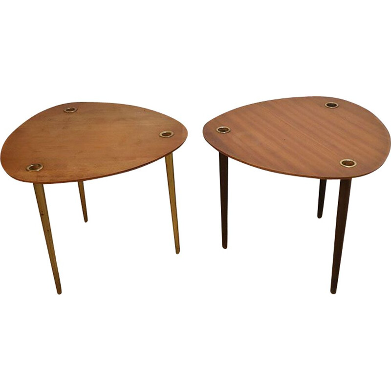 Pair of  vintage stackable nesting tables by Pierre Cruège 1950s