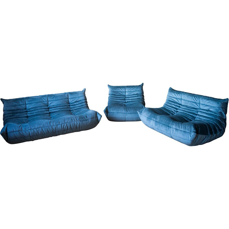 Set of vintage 3 and 2 seater sofa with armchair Togo velvet  by Michel Ducaroy for Ligne Roset